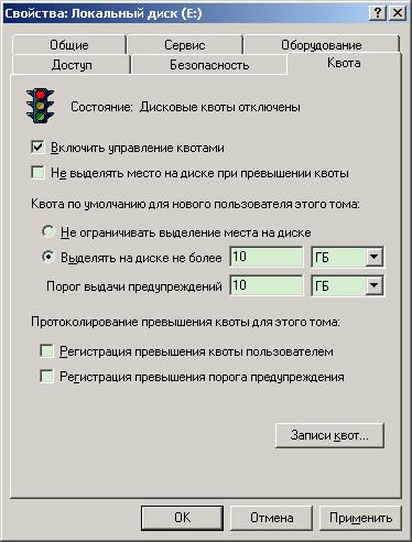 Свойства диска: квотирования для нового  пользователя